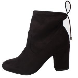 Shoes - Black faux suede elastic back tie block heel boot
